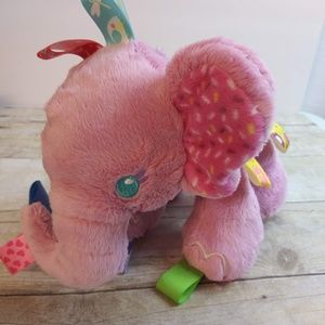 "Taggies Pink Elephant Baby Toy Rattle Lovey 10"" Z7"
